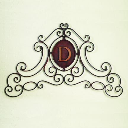 Monogrammed Iron Scroll Wall Grille Personalized Wall
